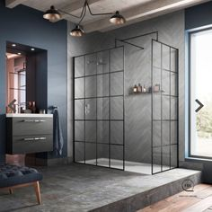 Easy DIY shower screen black patter. Black matt aluminium tape Wet Room Shower Screens, Bath Screens, Shower Doors, Simple Bathroom, Modern Bathroom, Bathroom Ideas, Bathroom Trends, Basement Bathroom, Japanese Bathroom
