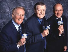 Legendary broadcasters of the Dodgers and Lakers: Vin Scully & Chick Hearn Dodgers Shirts, Dodgers Fan, Dodgers Baseball, Dodgers Today, Dodgers Nation, Baseball Wall, Baseball Teams, Football, Fox Sports Net