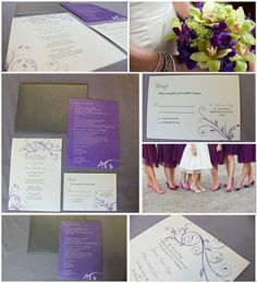 purple wedding invitations, custom wedding invitat