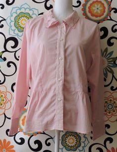 J. Jill Women Pink Button Front Blouse Size L #JJill #Blouse
