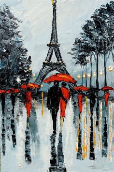 Cuchillo de paleta PARIS pintura pintura Original de por GoldieK: