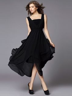 Cool High Waist Back V-Neck Sleeveless Chiffon Maxi Dress