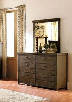 Hardwin Rustic Weathered Grey Wood Glass Dresser