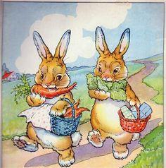 """This is a wonderful bunny illustration from a German children's book called """"Funfzehn kleine Hasenkinder"""" . My dear friend Nicola aka Püppilottchen.  Thank you so much Nicola!!"""