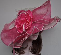 "2015 Ruffle Floral Kentucky Derby Church Wedding 7"" Wide Brim Layer Floppy Floral Hat Hot Pink with Ivory Eden http://www.amazon.com/dp/B00UNDQDIC/ref=cm_sw_r_pi_dp_buenvb02MYT5C"