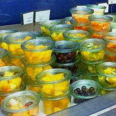 A great and hygenic idea to present fresh fruit on a breakfast buffet.