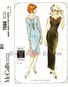 McCalls 7566; ©1964; Misses Dress in Two Lengths. Four-panel, dart fitted dress…