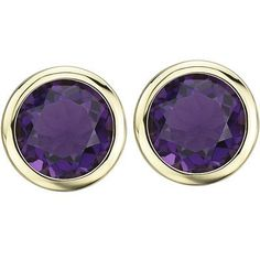 14K Yellow Gold Round Purple Amethyst Bezel Set Stud Earrings 14K Yellow Gold Round Purple Amethyst by Britney, http://www.amazon.com/dp/B008WIBKE2/ref=cm_sw_r_pi_dp_RXMlrb067BVK4