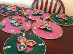 HAND MADE MEHNDI PLATES IN PINK AND GREEN. SEE www.facebook.com/mehnditraysforfun