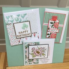 Sample board from a recent class using Birthday Blooms stamp set and Birthday Bouquet DSP - created by Julia Jordan