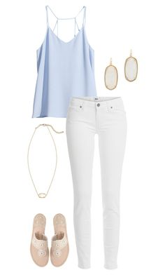 """dinner & movie date"" by sassy-and-southern ❤ liked on Polyvore featuring H&M, Paige Denim, Jack Rogers and Kendra Scott"