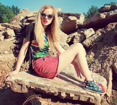 Romwe Sunglasses, Romwe Graphic Fridge Print Tee, Thrifted Acid Wash Skirt, Oasap Spiked Backpack, Oasap Shoes