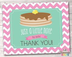 Pancake Party Printable Thank You Cards – Erin Bradley/Ink Obsession Designs Thank You Card Design, Thank You Card Size, Printable Thank You Cards, Printable Planner Stickers, Pancake Designs, Pancake Party, Party Printables, Card Sizes, Birthday