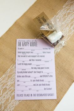 Wedding Advice Card Printable [Fill in the Blank] -- Etsy -- 2BsCraftsandDesigns