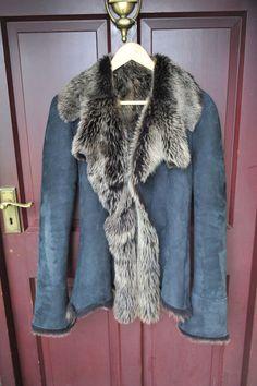 fa50497fea FABULOUSLY Smart Real Suede/Sheepskin/Shearling Jacket Black/Brown Size UK  10 #