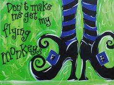 Wicked - I do not like the Flying Monkey scene in the wizard of Oz. Halloween Canvas, Halloween Painting, Holidays Halloween, Halloween Crafts, Halloween Pics, Halloween Witches, Halloween Decorations, Fall Decorations, Holiday Crafts