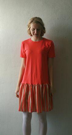 Beige Tshirt smock dress with beige and orange stripe by DGstyle, $45.00