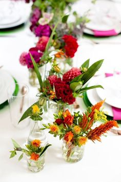 Vibrant Geek-Chic Styled Shoot design- same sex couple wedding - colorful tablescape