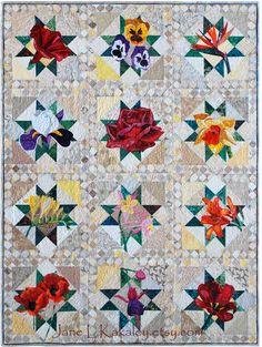 Arte tejido patrón Tiger Lily Applique Quilt por JaneLKakaley