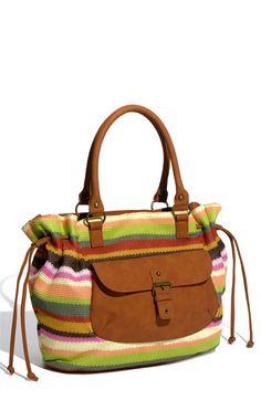 T-Shirt & Jeans Rainbow Crochet & Faux Leather Pocket Bag