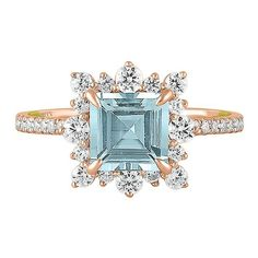 TRULY™ Zac Posen Aquamarine & 3/4 ct. tw. Diamond Engagement Ring in 14K Rose Gold | Helzberg Diamonds