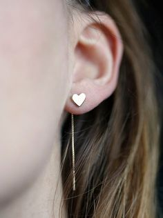 Romantische Ohrstecker mit Herz / romantic gold earrings with heart made by Minimal VS via DaWanda.com