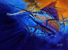Sunset Bite, sailfish art, acrylic on canvas, Original Sailfish Painting by Sportfishing and gamefish fine artist Savlen.