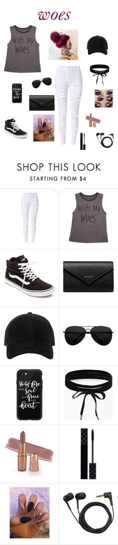 """with my woes😜"" by hannahrgl ❤ liked on Polyvore featuring beauty, WithChic, Wet Seal, Vans, Balenciaga, rag & bone, Casetify, Boohoo, Gucci and Sennheiser"