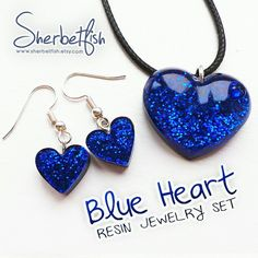 Updates from Sherbetfish on Etsy - Jewelery ear-rings - Brand new sparkly blue resin jewellery set – puffy heart pendant necklace and earrings by Sherbet - Resin Jewelry Tutorial, Resin Jewelry Making, Keep Jewelry, Polymer Clay Jewelry, Resin Jewellery, Diy Resin Art, Diy Resin Crafts, Jewelry Crafts, Handmade Jewelry