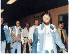 Elvis before his Atlanta show june 5th 1976 here with Red West a month before he was fired by Elvis.