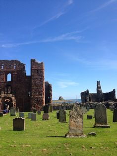 The priory with Lindisfarne Castle peeping through.