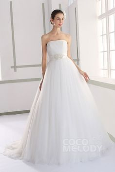 Impressive A-line Strapless Natural Court Train Tulle Ivory Sleeveless Lace Up-Corset Wedding Dress with Beading Sashes and Pleating JWLT15011#cocomelody#weddingdresses#bridalgowns#