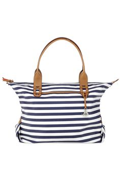 Navy & White Stripe Tote Bag & Satchel | How Does She Do It Tote | Stella & Dot Love the stripes!!