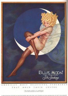 Blue Moon Silk stockings, Womens Glamour Pin-Ups Nylons Hosiery, USA, 1920 by Stephen Arens Metal Prints Metal Print - 30 x 41 cm Vintage Advertisements, Vintage Ads, Vintage Prints, Vintage Posters, Vintage Food, Vintage Images, Vintage Girls, Vintage Outfits, Fine Art Prints