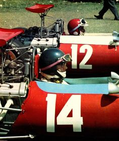 The cars No 12 & 14 are Ferrari Dino 166F2 cars (No. 12 is most probably Ernesto Brambilla, both cars are pictured at the Argentinian Temporada 1968)