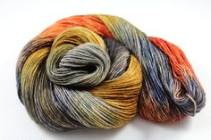 """""""Sometimes The Embers Are Better Than The Campfire"""" READY TO SHIP Single Ply Fingering Yarn  by Groovy Hues Fibers  #groovyhuesfibers #groovyhues #etsy #orange #silver #blue #brickred #red #fall #autumn #sunset #campfire #stephenking #quote #variegated #sock #socks #yarn #knitting #knit #crocheting #crochet #wool #crafts #artsandcrafts #diy #handmade #indiedyer #indiedyed #handdyed #shawl #winter #warm #sheep #hat #scarf #mittens #pretty"""