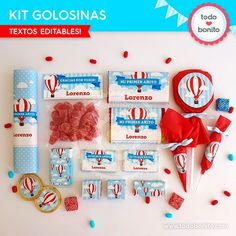 Globos aerostáticos varones: kit etiquetas de golosinas - Todo Bonito Candy Labels, Baby Mickey, Candy Party, Hot Air Balloon, Christening, Party Themes, Balloons, Gift Wrapping, Baby Shower
