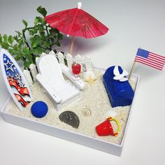 Get patriotic at your office by bringing in some red, white, and blue.