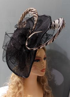 Black crin headdress with sinamay bows and pheasant Lady Amherst feathers by LidiaArtThings on Etsy https://www.etsy.com/listing/210213364/black-crin-headdress-with-sinamay-bows