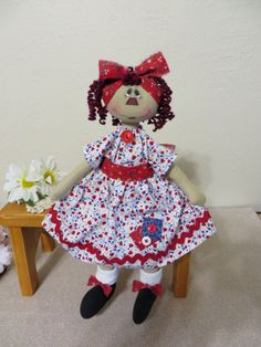 """13"""" Primitive Raggedy Ann doll red dress painted face burgundy hair #NaivePrimitive"""