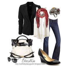 Blazer and scarf outfit