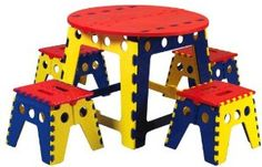 Designed with preschool art projects in mind, the Martin Kids Legacy Colorful Folding Table Set with 4 Stools keeps creativity at the center. Kids Folding Table, Kids Craft Tables, Kids Table Chair Set, Plastic Folding Chairs, Outdoor Folding Chairs, Play Table, Kid Table, Baby Furniture Sets, Kids Furniture