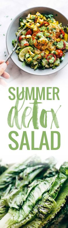 Glowing Grilled Summer Detox Salad: SUPER healthy meets OMG yummy! with grilled romaine, lime, tomato, cucumber, avocado, corn, shrimp, and cilantro dressing. | pinchofyum.com
