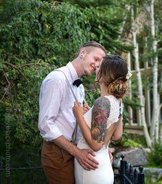 Heritage Gardens Wedding with tattooed bride and groom in Utah | Lindsey Black Photography | Utah Wedding Photographer | Vintage Getaway Car | Something Vintage Something Blue | Utah Wedding Venue | Tattooed Bride | Garden Weddings