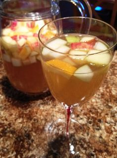 Wicked Autumn Sangria: Vanilla vodka, sugar, apple cider, pumpkin pie spice, honeycrisp apples, pears, oranges, and pinot grigio