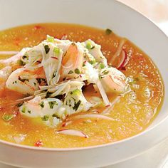 Healthy Golden Peach Soup with Shrimp and Crab Seviche | CookingLight.com