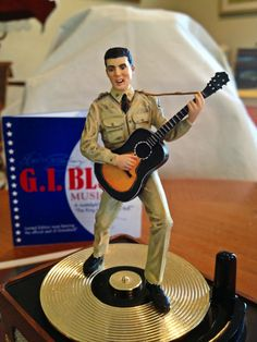Elvis Revolving Music Box G I Blues Record Player - The Franklin Mint yr. 2000
