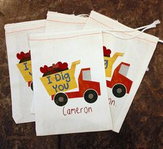 Valentine's Day Favor Bags - Kids School Valentines / I Dig You Candy Bag / Boys Valentine Teachers Gift Card Holder / Dump Truck Muslin 5x7 by ScrapendipityBags