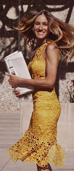 Glamour| Serafini Amelia| Sarah Jessica Parker for Maria Valentina 2014 yellow lace sheath dress  | LBV ♥✤