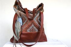 NEW STYLE-Luella in Vintage Navaho Carpet with Leather Accents
